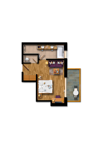 Double room with balcony (extra bed)
